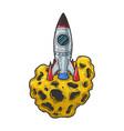 rocket on asteroid sketch vector image vector image