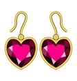 ruby earrings mockup realistic style vector image vector image