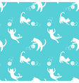 Seamless pattern with cute playing cats on yellow vector image vector image