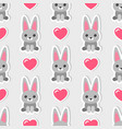 seamless pattern with cute rabbits and hearts vector image
