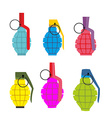 Set colored hand grenades Fun colorful military vector image vector image