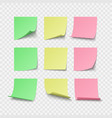 set green yellow and red pin stickers with vector image