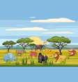 set of cartoon african animals background vector image