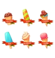 set of flat ice creams icons with ribbons vector image vector image