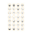 Set of outline emoticon vector image