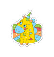 sweet unicorn childish patch badge cute cartoon vector image vector image
