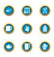 tea breakfast icons set flat style vector image vector image