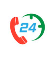 technical support 247 icon in flat style phone vector image