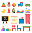 various toys for preschool kids vector image vector image
