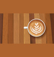 white cup coffee latte tuliptop view on wooden vector image