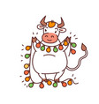 white metal bull with garland lantern - chinese vector image vector image