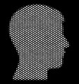 white pixelated man head profile icon vector image vector image