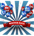 winter sale balloons and discounts background vector image vector image