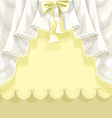 Yellow background with lace curtains and bow vector image