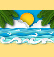 sea waves and tropical beach in paper art style vector image