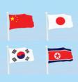 china japan south korea and north korea flags vector image