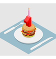 1 year birthday burger Number one with candle vector image vector image