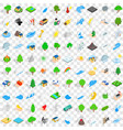 100 global warming icons set isometric 3d style vector image