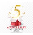 5th anniversary celebration vector image vector image