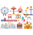 amusement park entertainment icons elements vector image