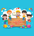 back to school concept with funny children vector image vector image