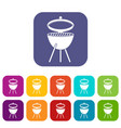 barbecue icons set flat vector image vector image