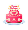 birthday cake colorful pink celebration dessert vector image