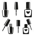 black and white nail polish silhouette set vector image