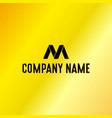 black letter m emblem with golden background vector image vector image