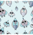 Blue and purple cute owl seamless pattern vector image vector image