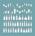 bottles and glasses line black icon set holiday vector image vector image