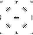 canoeing pattern seamless black vector image vector image