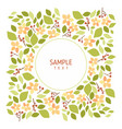 card with flowers and leaves wedding ornament vector image vector image
