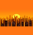cityscape sunset modern city skyline panoramic vector image
