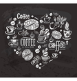 Coffee labels Design elements on the chalkboard vector image vector image