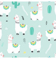 Cute llama print design seamless pattern