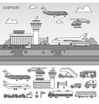 different types transport in airport line vector image