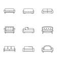 divan icons set outline style vector image vector image