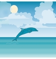 Dolphin sea animal beautiful landscape vector image