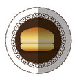 emblem color hamburger bread icon vector image vector image