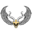 evil skull with metal horns and wings vector image vector image