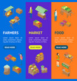 farm local market banner vecrtical set isometric vector image vector image