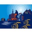 Farmer driving tractor hay bale farmhouse barn vector image