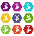 gas pipe icons set 9 vector image vector image