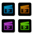 glowing neon movie clapper icon isolated on white vector image vector image