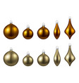 golden isolated christmas balls set vector image vector image