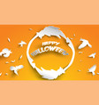 halloween background with witch and broomstick in vector image
