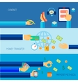 Hand holding objects flat banner vector image