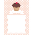 invitation card with chocolate muffin on dots vector image vector image