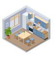 isometric minimalist kitchen room interior with vector image
